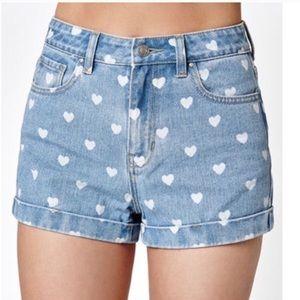 Pacsun Sz 24 Denim Jean Shorts Cutoffs Heart Print